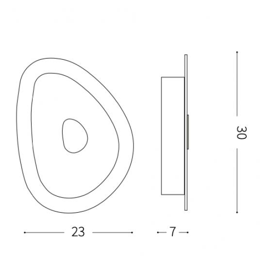 Ideal Lux Geko 010861 PL2  Φωτιστικό Οροφής Μοντέρνο Λευκό με Διαφάνεια
