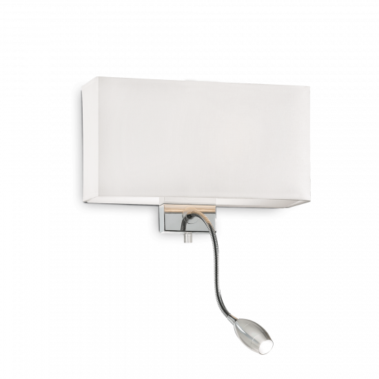 Ideal Lux Hotel 035949 AP2 Bianco Φωτιστικό Τοίχου Απλίκα  Μοντέρνο Λευκό με Ύφασμα Και Σποτ Ανάγνωσης