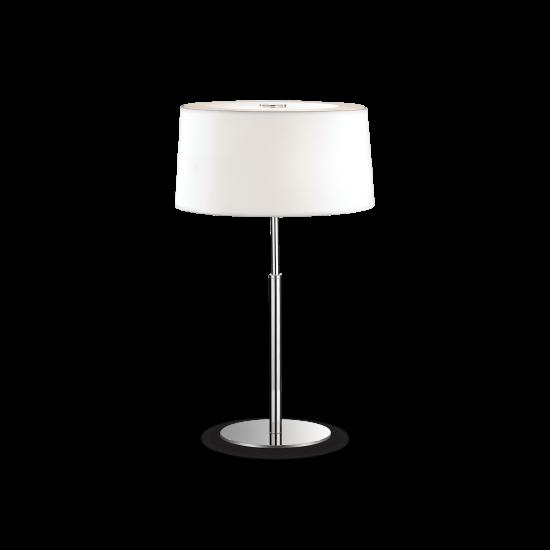 Ideal Lux Hilton 075532 TL2 Bianco Φωτιστικό Επιτραπέζιο Πορτατίφ Μοντέρνο Λευκό Με Ύφασμα