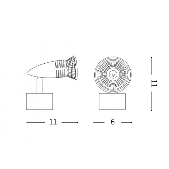 Ideal Lux Alfa 009377 AP1 Nickel Φωτιστικό Τοίχου Μοντέρνο Σποτ Νίκελ