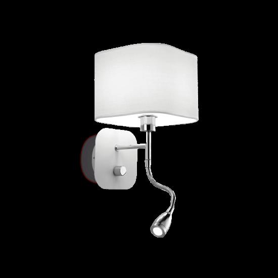 Ideal Lux Holiday 124162 AP2 Bianco Φωτιστικό Τοίχου Απλίκα  Μοντέρνο Λευκό με Ύφασμα Και Σποτ Ανάγνωσης