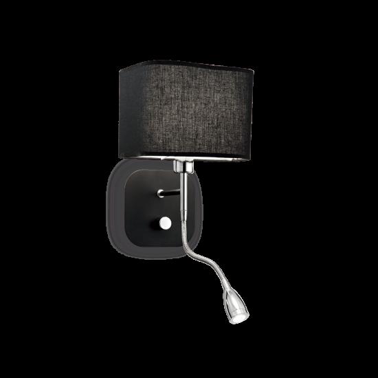 Ideal Lux Holiday 124179 AP2 Nero Φωτιστικό Τοίχου Απλίκα  Μοντέρνο Μαύρο με Ύφασμα Και Σποτ Ανάγνωσης