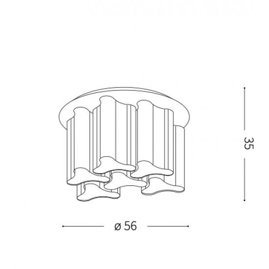 Ideal Lux Compo 125503 PL6 Bianco Φωτιστικό Οροφής Μοντέρνο Λευκό Ματ