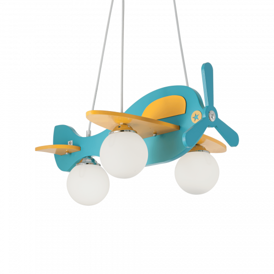 Ideal Lux Avion 136325 Avion-1 SP3 Φωτιστικό Κρεμαστό Μοντέρνο Ξύλινο Αεροπλάνο Τιρκουάζ
