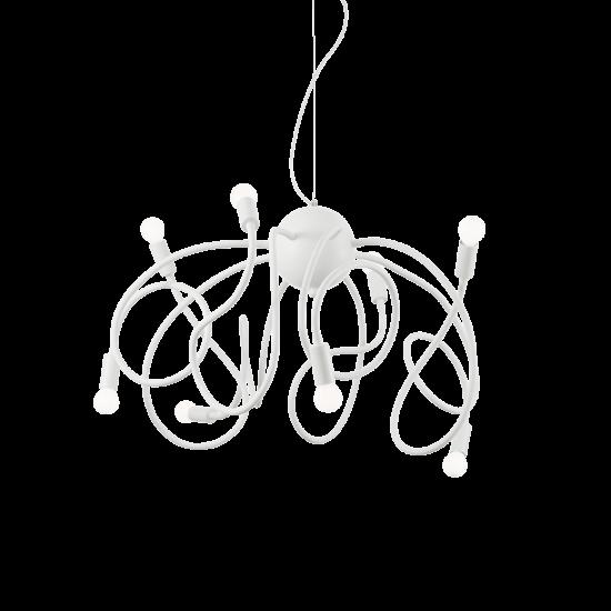 Ideal Lux Multiflex 141893 SP8 Bianco Φωτιστικό Κρεμαστό Μοντέρνο Εύκαμπτο Λευκό Ματ