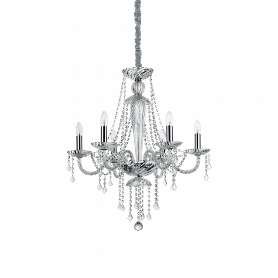 Ideal Lux Amadeus 168753 SP6 Φωτιστικό Κρεμαστό Πολυέλαιος Κλασσικό Με Κρυστάλλους Διάφανο