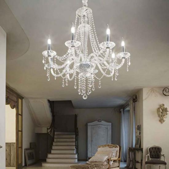 Ideal Lux Amadeus 168777 SP8 Φωτιστικό Κρεμαστό Πολυέλαιος Κλασσικό Με Κρυστάλλους Διάφανο