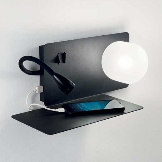 Ideal Lux Book 174808 Book-1 AP2 Nero Φωτιστικό Τοίχου Απλίκα Μοντέρνο Μαύρο Ματ Ανάγνωσης