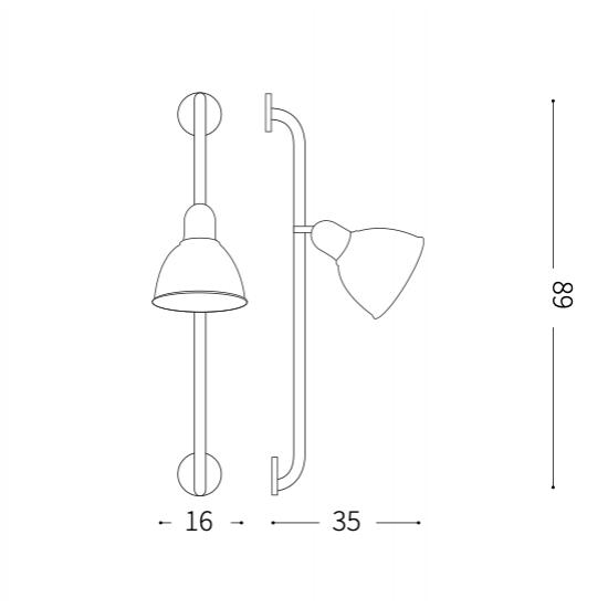 Ideal Lux Shower 179643 AP1 Nero Φωτιστικό Τοίχου Απλίκα Κλασσικό Μαύρο Ματ