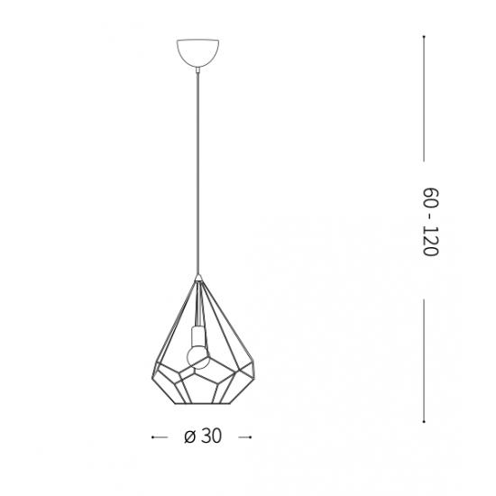 Ideal Lux Ampolla 167367 SP1 Rame Φωτιστικό Κρεμαστό Κλασσικό Χαλκός