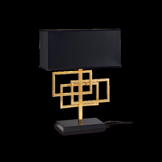 Ideal Lux Luxury 201115 TL1 Ottone Φωτιστικό Επιτραπέζιο Πορτατίφ Μοντέρνο Μαύρο Με Χρυσό