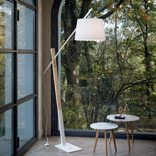 Ideal Lux Eminent 207582 PT1 Φωτιστικό Δαπέδου Μοντέρνο Λευκό Με Ξύλο