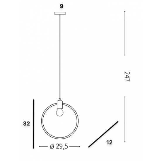 Ideal Lux Abc 207841 SP1 Round Φωτιστικό Κρεμαστό Κλασσικό Μαύρο Οξυντέ Κύκλος