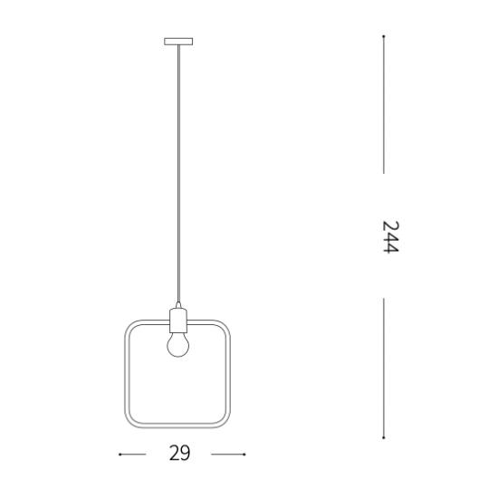 Ideal Lux Abc 207858 SP1 Square Φωτιστικό Κρεμαστό Κλασσικό Μαύρο Οξυντέ Τετράγωνο