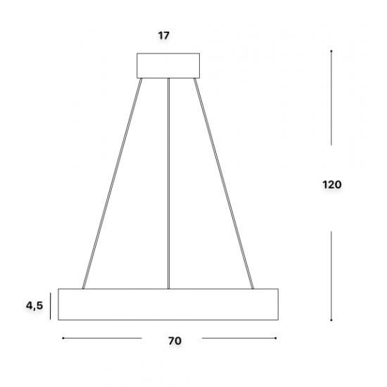 Ideal Lux Oracle 211381 D70 Round Bianco Φωτιστικό Κρεμαστό Στρογγυλό Μοντέρνο Λευκό Ματ