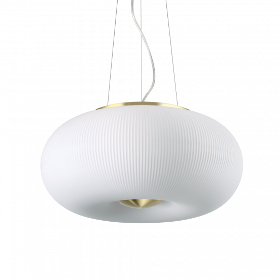 Ideal Lux Arizona 214474 SP3 Φωτιστικό Κρεμαστό Μοντέρνο Λευκό Με Ανάγλυφες Ρίγες