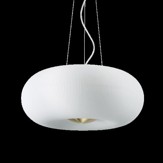 Ideal Lux Arizona 214481 SP5 Φωτιστικό Κρεμαστό Μοντέρνο Λευκό Με Ανάγλυφες Ρίγες