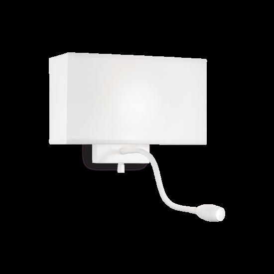 Ideal Lux Hotel 215693 AP2 All White Φωτιστικό Τοίχου Απλίκα  Μοντέρνο Λευκό με Ύφασμα Και Σποτ Ανάγνωσης