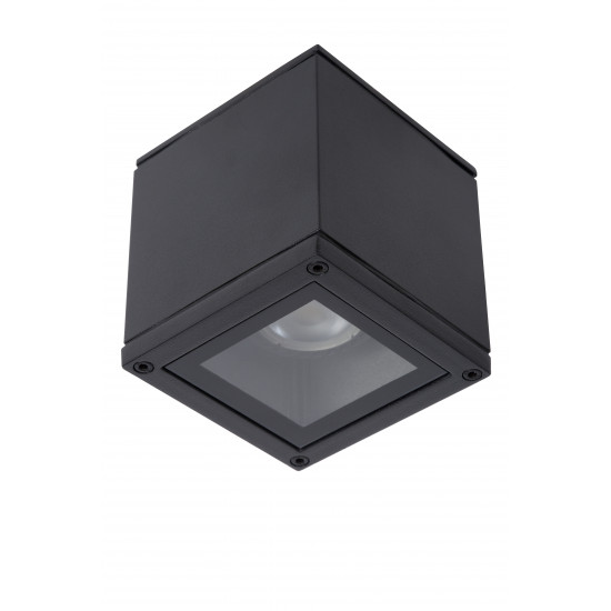 Lucide AVEN 22963/01/30 Προβολέας Οροφής Square  Gu10 / 50W ΙΡ-65 Μαύρος