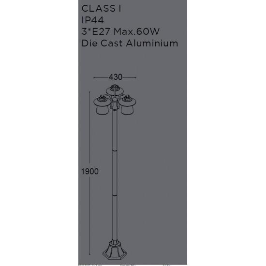 LUTEC cate 7264230213 Κολώνα Αλουμινίου 3φωτη Μαύρη Η:1900