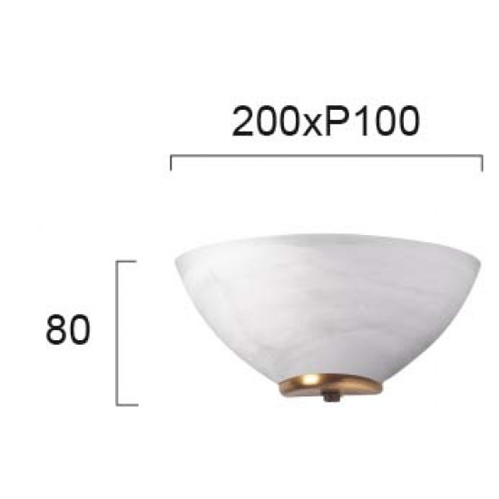 Viokef FLORA 330204 Απλίκα με γυαλί αλάβαστρο λευκό. Δέσιμο Οξυντέ.