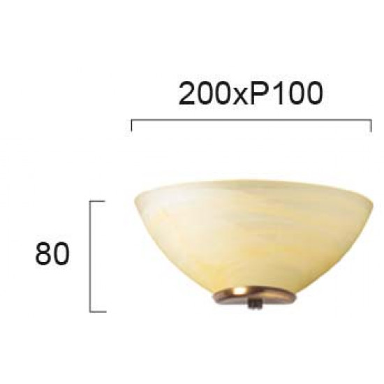 Viokef FLORA 330205 Απλίκα με γυαλί αλάβαστρο μελί. Δέσιμο Οξυντέ.