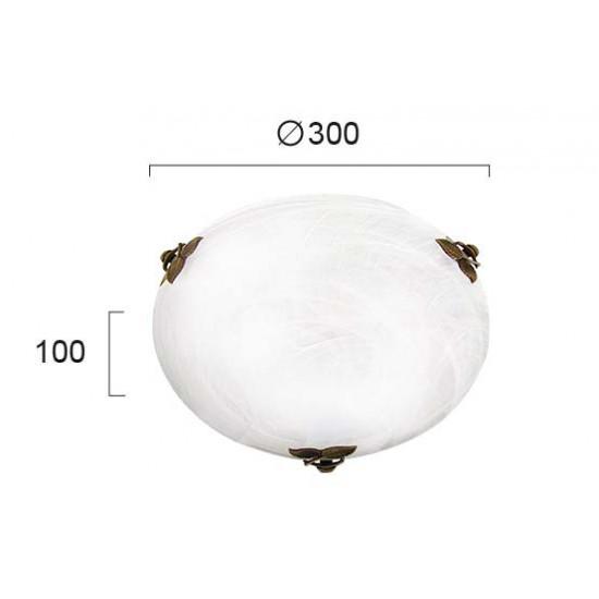 Viokef FLORA 3958900 Πλαφονιέρα με γυαλί αλάβαστρο λευκό. Δέσιμο Οξυντέ.
