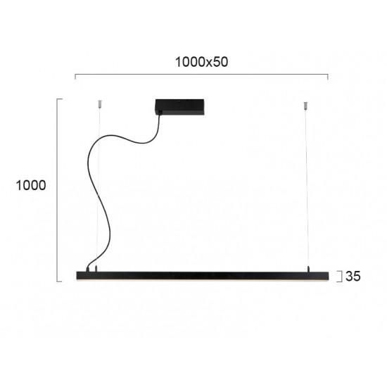 Viokef LYNNE 3994601 Κρεμαστό Γραμμικό Φωτιστικό Μαύρο L:1000