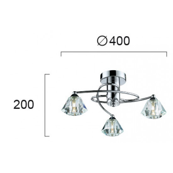 Viokef DIAMOND 4085600 Φωτιστικό Οροφής με πρισματικό γυαλί διάφανο. Ανάρτηση χρώμιο.