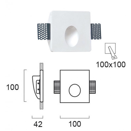 Viokef ASTER 4097200 Χωνευτό γύψινο σποτ τοίχου. Επιδέχεται βαφή.