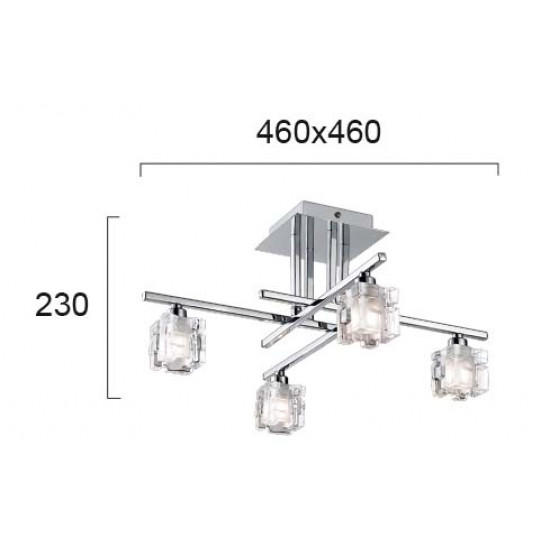 Viokef FELICIA 4103000 Φωτιστικό Οροφής με πρισματικά κρύσταλλα. Βάση από χρώμιο.