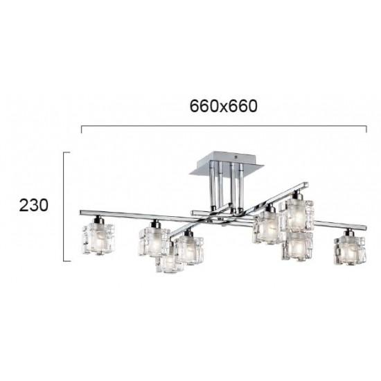 Viokef FELICIA 4103100 Φωτιστικό Οροφής με πρισματικά κρύσταλλα. Βάση από χρώμιο.