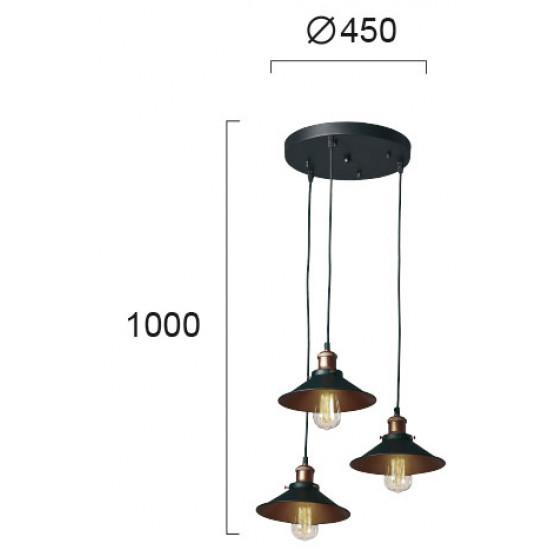 Viokef ADISSON 4135500 Κρεμαστό Μεταλλικό Φωτιστικό σε μαύρο με χάλκινες λεπτομέρειες.