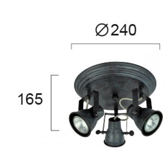 Viokef VINTAGE 4139200 Τρίφωτο Σποτ σε μαύρη πατίνα Round