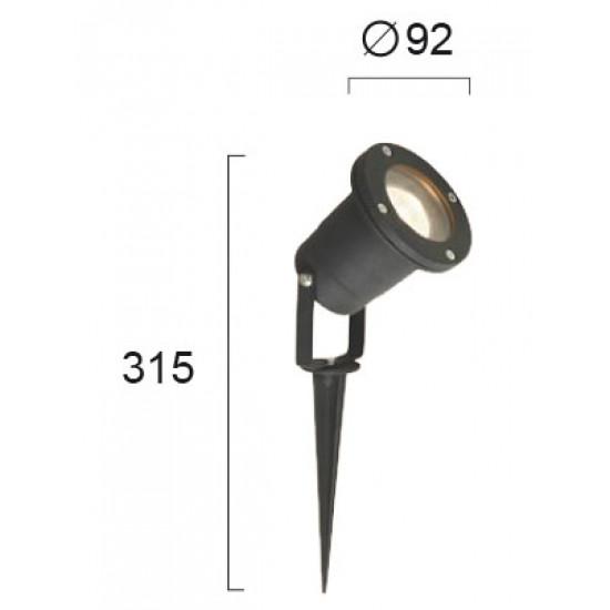 Viokef LEROS 4158300 Φωτιστικό Κήπου Μαύρο