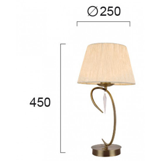 Viokef RAFAELLA 4176800 Επιτραπέζιο Φωτιστικό με καπέλο εκρού. Ανάρτηση οξυντέ με διακοσμητικά κρύσταλλα.