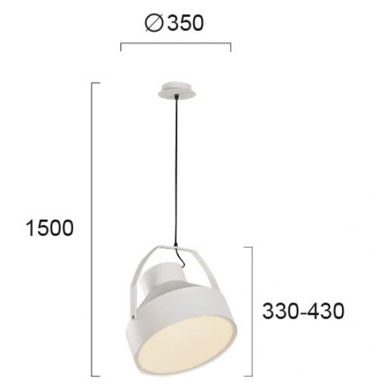 Viokef BALZAC 4196300 Κρεμαστό μεταλλικό φωτιστικό λευκό με PC.