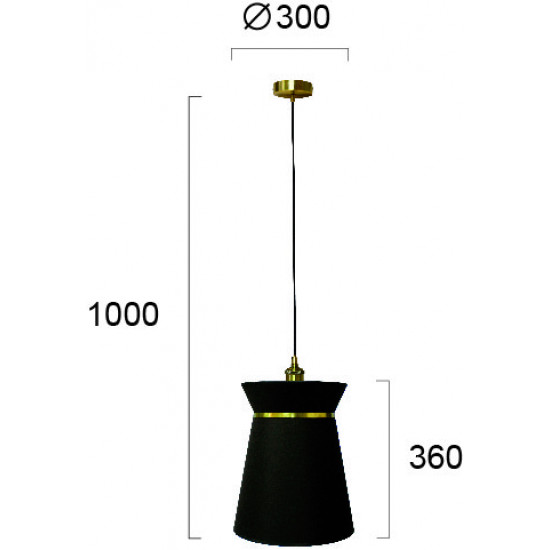 Viokef CLAUDINE 4203100 Κρεμαστό φωτιστικό με καπέλο από πλαστικοποιημένο ύφασμα σε μαύρο με  χρυσή λεπτομέρεια.