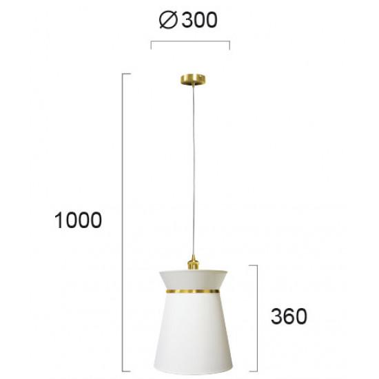 Viokef CLAUDINE 4203101 Κρεμαστό φωτιστικό με καπέλο από πλαστικοποιημένο ύφασμα σε λευκό με  χρυσή λεπτομέρεια.