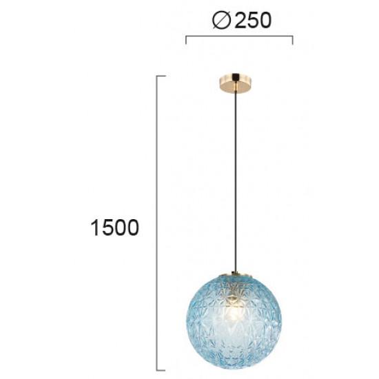 Viokef ASPA 4206102 Κρεμαστό Φωτιστικό με γυαλί μπλέ. Ανάρτηση οξυντέ.