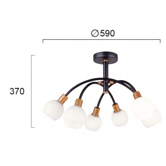Viokef ELISA 4215100 Φωτιστικό Οροφής με γυαλί οπάλ ματ. Ανάρτηση μαύρη με χρυσές λεπτομέρειες.