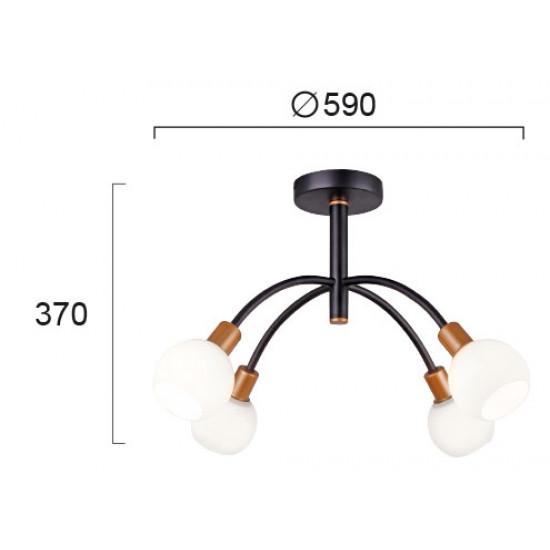 Viokef ELISA 4215200 Φωτιστικό Οροφής με γυαλί οπάλ ματ. Ανάρτηση μαύρη με χρυσές λεπτομέρειες.