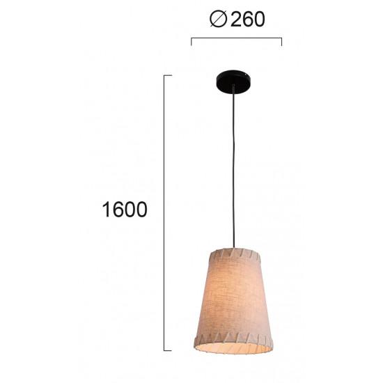 Viokef TIMOR 4221600 Κρεμαστό φωτιστικό με καπέλο σε μπέζ ύφασμα και βάση μαύρη.
