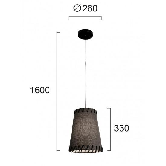 Viokef TIMOR 4221601 Κρεμαστό φωτιστικό με καπέλο σε μαύρο ύφασμα και βάση μαύρη.