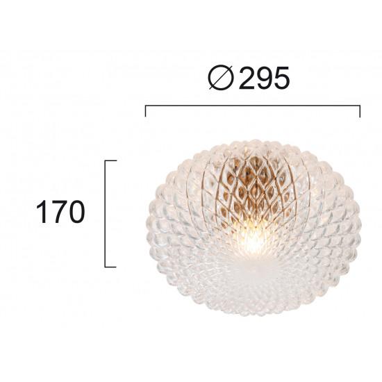 Viokef ESTER 4225800 Φωτιστικό Οροφής με ανάγλυφο γυαλί σε διαφανές.