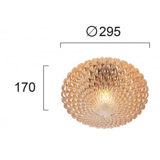 Viokef ESTER 4225801 Φωτιστικό Οροφής με ανάγλυφο γυαλί σε μελί.