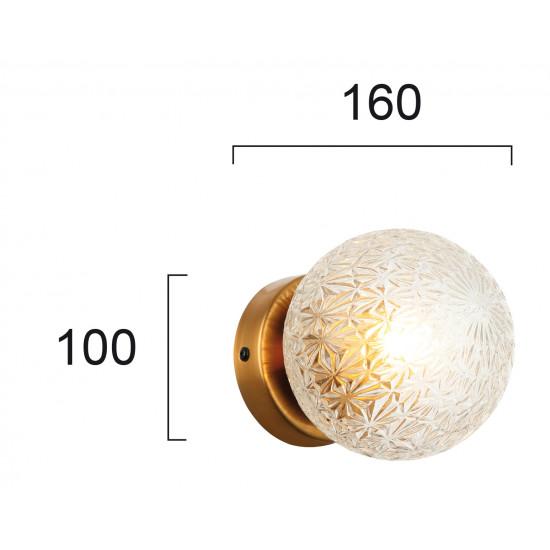 Viokef ASPA 4226100 Φωτιστικό Απλίκα με γυαλί διάφανο. Ανάρτηση οξυντέ.