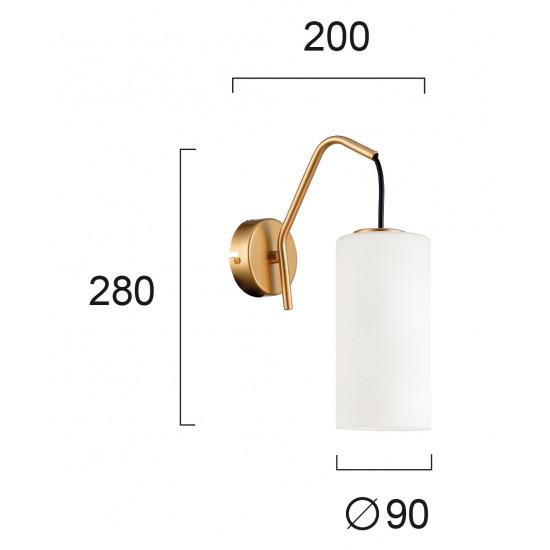 Viokef ELENOR 4232200 Φωτιστικό Απλίκα με γυαλί λευκό ματ. Ανάρτηση χρυσή ματ με μαύρο καλώδιο.