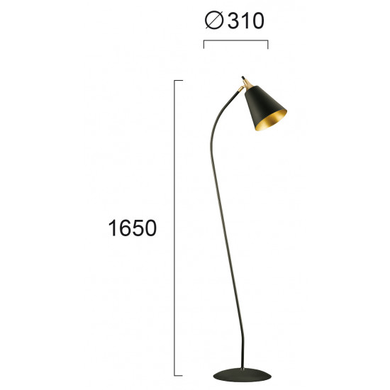 Viokef MENTA 4241801 Φωτιστικό Δαπέδου Μεταλλικό σε μαύρο με χρυσό.
