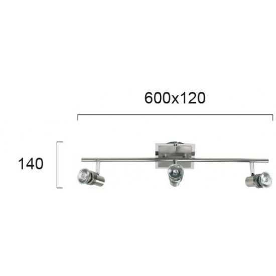 Viokef CHA-CHA 462100 Spot 3φωτη μπάρα nickel mat